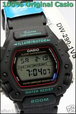 DW-290-1V Original Casio Men's Watch Sport 200M Stopwatch Digital Black Plastic