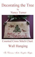 Primitive Decorating the Tree hanging cross stitch,CHART w/bells,button,floss!