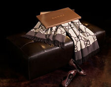 $950 NEW GUCCI REVERSIBLE CASHMERE WOOL THROW BROWN AUTHENTIC BLANKET IN BOX