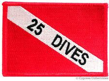 25 DIVES - EMBROIDERED SCUBA DIVING FLAG PATCH IRON-ON ACHIEVEMENT EMBLEM