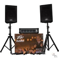 Peavey Audio Performer Pack - Portable PA System Mixer + Amp + Speakers + Stands