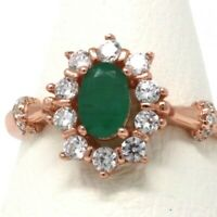 Vintage Authentic Oval Emerald Halo Ring Women Wedding Jewelry 14K Rose Gold