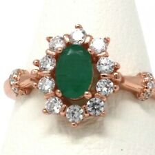 .5 Ct Colombian Emerald Band Ring Women Jewelry 14K Rose Gold Size 5 6 7 8 9