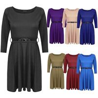 LADIES WOMENS BELTED FLARED PLEATED 3/4 SLEEVES SKATER SHORT MINI DRESS TOP 8-14