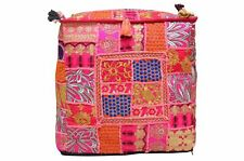 """Indian Cotton Pouf Cover Handmade Patchwork Vintage Ottoman Square 18X18"""" Inches"""