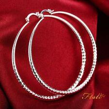 925 Sterling Silver Filled Large Hoop Ladies Dangle Solid Earrings Jewellery UK