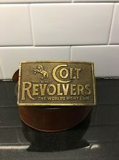 Vintage Steerhide Belt Huge Colt Revolvers Brass Buckle Napoleon Gun Leather 36