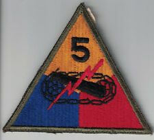 WWII US Army Original 5th Armored Division SSI Patch Cut Edge No Glow