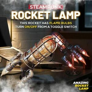 Steampunk Rocket Lamp  Style Lights Metal Desktop Decor