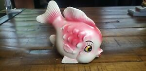 Vintage pink Fish Wall Pocket Pottery. Anthropomorphic.