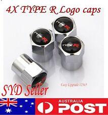 4X HONDA TYPE R Logo Emblem Wheel Tyre Valve Stems Air Dust Cover Screw Caps