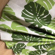 50x150cm Cotton Linen Fabric DIY Craft Material Print Big Green Leaf F1210 E