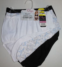 3 Olga Panty Set Nylon Brief Without A Stitch Black White Blue Flower 6 M NWT