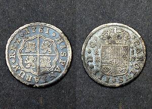1 Réal 1761 M JP (Madrid). Carolus III°. España. Argent. Patine médaillée