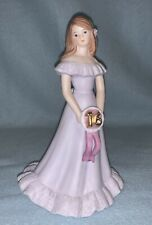 Enesco Growing Up Birthday Girls Sweet 16 Figurine, Brunette Lavender Dress 1982