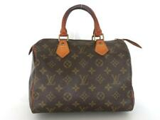 Authentic LOUIS VUITTON Monogram Canvas Leather Speedy 25 Handbag Bag Purse
