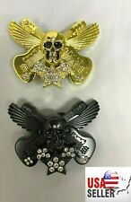 COMBO 1 Black and 1 Gold Metal Guitar Unisex Rhinestones Skeleton Belt Buckle