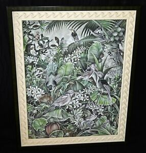 Vintage Framed Balinese Acrylic Painting Birds & Flowers by Martha P. (DaM)