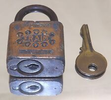 Vintage Fraim Rust Proof Pin Tumbler Key Padlock - Collectible