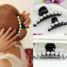 Women Lady Girl Pearl Crystal Hair Clip  Clamp Claw Haedpiece Hair Accessory SI