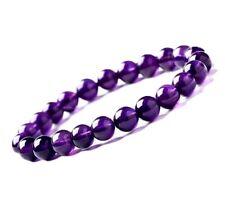 Bracelet Femme,23 Cristaux de Brésil,Pures,Violet,Perles 8mm,Extensible,Tendance