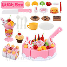 DIY Birthday Cake Set Kitchen Cooking Pretend Toy Snack Play Food Kids with Box