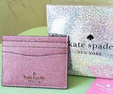 KATE SPADE LOLA GLITTER BOXED SLIM CARD HOLDER CASE:NIB ROSE PINK