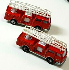 Majorette LOT 2 Pompier Fire Trucks 107 red engine ladder made in France 919L9