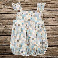 NWT Mud Pie Flamingo Baby Girls Blue Striped Tutu Romper Sunsuit 0-3 3-6 Months