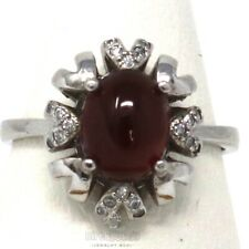 Authentic Oval Red Garnet Ring Women Jewelry Gift 925 Sterling Silver White Gold
