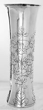 "TIFFANY Sterling Silver 13 3/4"" VASE, ENGRAVED FLORAL DESIGN, No Monogram"