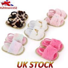 UK Baby Girls Slippers Slider Fluffy Flat Shoes Princess Party Slip On Sandals