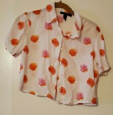 Forever 21 White Cropped Button Up Shirt Seashell All Over Pattern Size Small