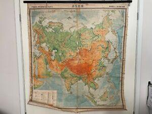 Vintage 1972 Linen School Map of Asia