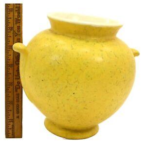 "Antique WELLER POTTERY BALL VASE/URN 6.25"" Nub Handles YELLOW MOTTLED GLAZE Rare"