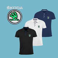 Homme Skoda Slim Fit Polo Shirt Auto Voiture Logo Brodé T Shirt Tee Cadeau Été