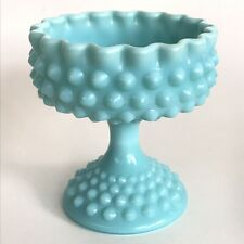Vintage Fenton Turquoise Hobnail Milk Glass Wedding Pedastal Candy Dish Compote