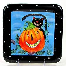 "Certified International HALLOWEEN 6"" Square Plate Cat Pumpkin Wendy Bentley"