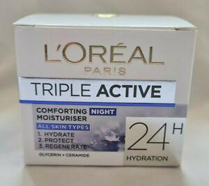 L'Oreal Paris Triple Active 24 hour Cream Comforting Moisturiser NIGHT UK SELLER