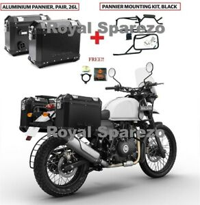 Royal Enfield Aluminum Panniers Pair Black & Rail For Himalayan With Oil Filter