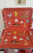 Vintage Cal Dak Mid Century Tv Trays Tops Only
