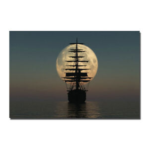 Tall Ship - Pirate Ship and the Moon Silk Canvas Poster 13x20 24x36''