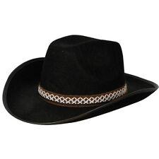 Vaquero Lujo Sombrero De Disfraz Negro Resistente Sombrero con banda NUEVO CON