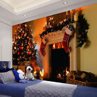 1.5x2m Christmas Fireplace Photo Backdrop Wall Hanging Tapestry Bedspread Decor