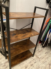 Vintage Industrial Bookcase Rustic Metal Shelving Unit Small Display Cabinet