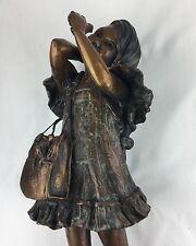 "Little Girl With Frog, Bronze Sculpture,  Leyendecker, ""Frog Collector"" USA"
