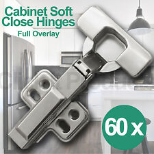 60 x Soft Close Cabinet Door Hinges Full Overlay Clip on Cupboard Hydraulic