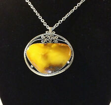 VICTORIAN UNIQUE BUTTERSCOTCH EGG YOLK AMBER PENDANT WITH OLD  CHAIN