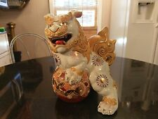 Incredibly Gorgeous Artist Signed Gold Decorated Antique Ceramic Foo Dog