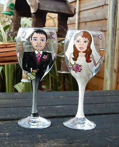 personalised  painted bespoke bride and groom wedding wine gift favour glasses